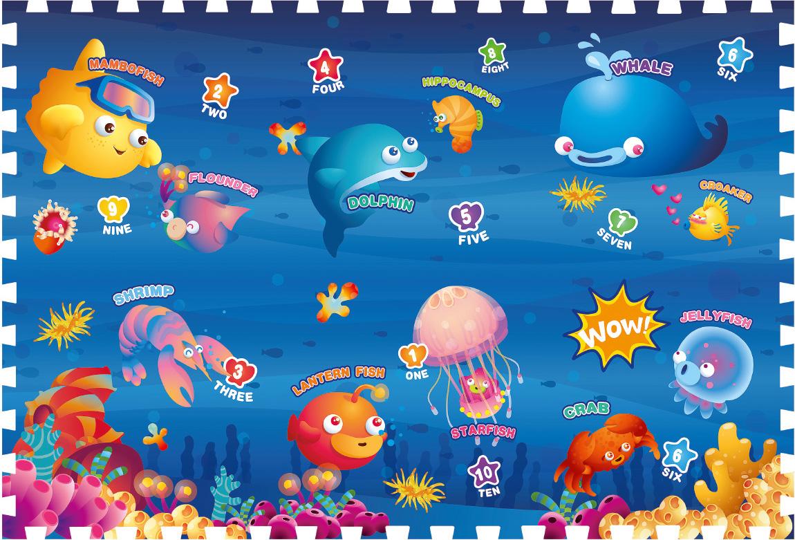 Mambobaby Коврик-пазл Океан 180 х 120 см игровые коврики mambobaby развивающий коврик морские жители односторонний 200х180х0 5см