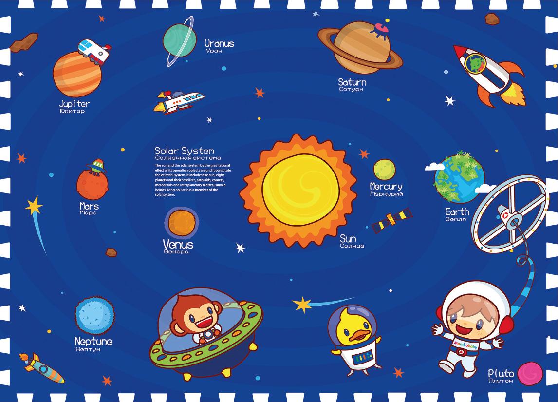 Mambobaby Коврик-пазл Солнечная система 180 х 135 см игровые коврики mambobaby развивающий коврик морские жители односторонний 200х180х0 5см