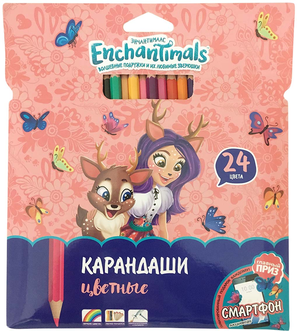 Mattel Карандаши цветные Enchantimals 24 цвета limpopo карандаши цветные super model 24 цвета