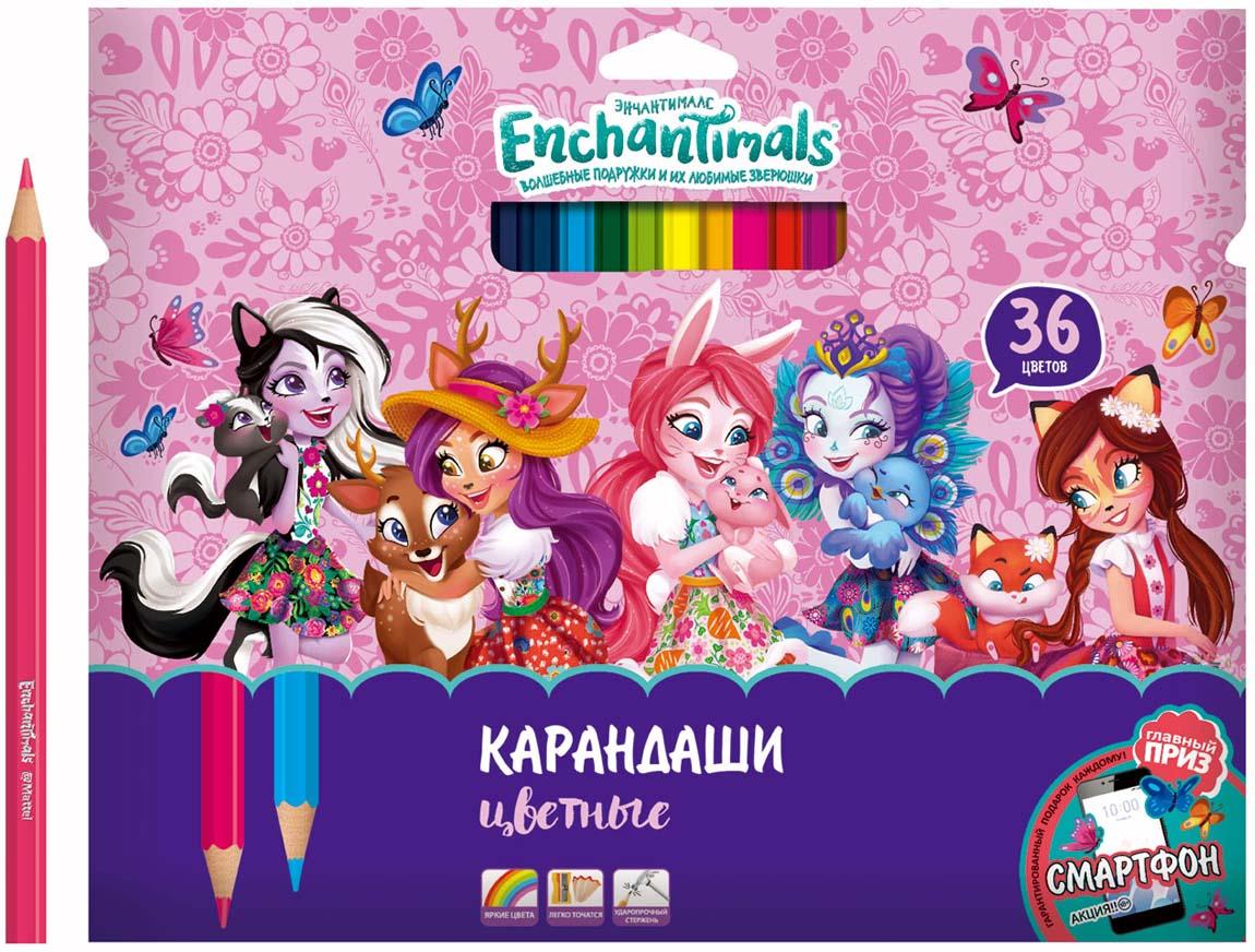 Mattel Карандаши цветные Enchantimals 36 цветов карандаши fila lyra graduate гексагональные цветные карандаши 12шт картонная упаковка