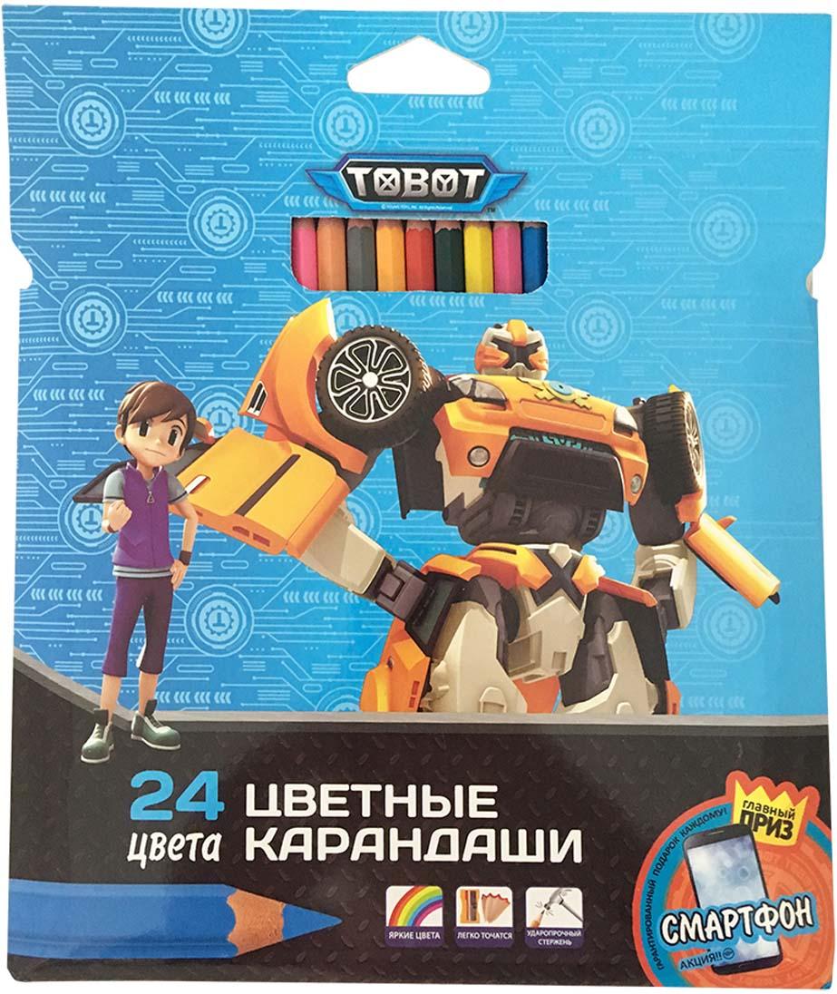 Tobot Карандаши цветные 24 цвета цветные карандаши bic kids evolution 24 цвета
