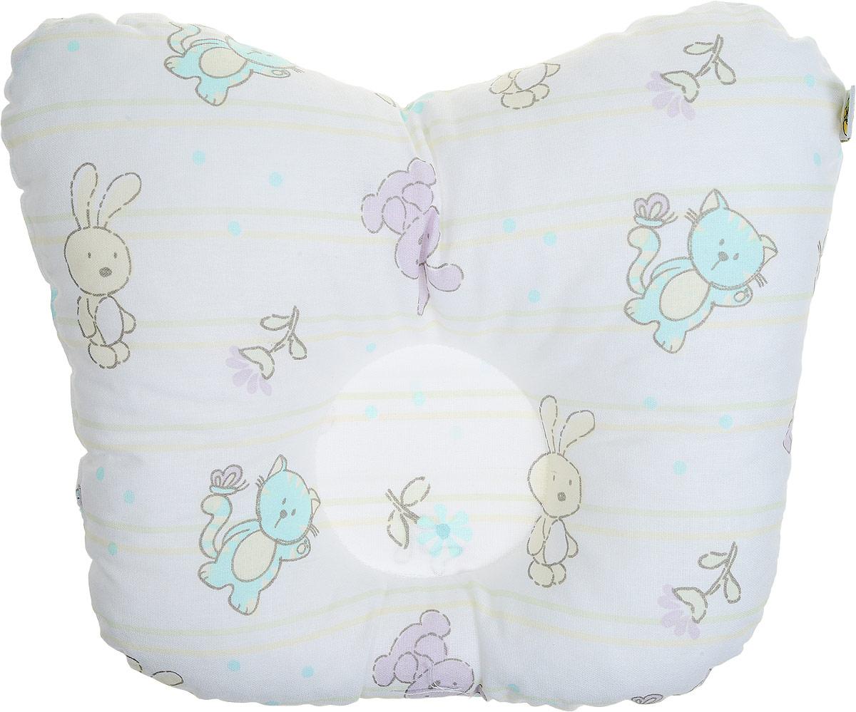 Сонный гномик Подушка анатомическая для младенцев Зайцы цвет белый 27 х 27 см