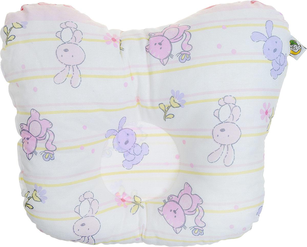 Сонный гномик Подушка анатомическая для младенцев Зайцы цвет розовый 27 х  см