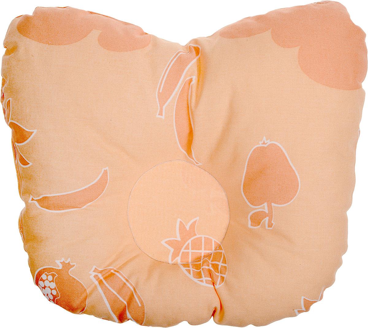 Сонный гномик Подушка анатомическая для младенцев Фрукты цвет оранжевый 27 х 27 см