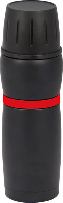 Термокружка из нержавеющей стали. Объем 480мл. Внутренняя колба из стали AISI 304 (аналог ГОСТ 08Х18Н10). Цвет: черный с красной полоской.