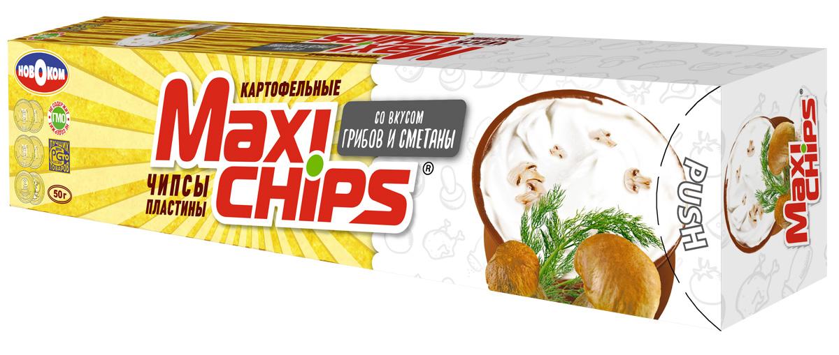 Фото Maxi-chips Чипсы картофельные со вкусом грибов и сметаны, 25 шт по 50 г