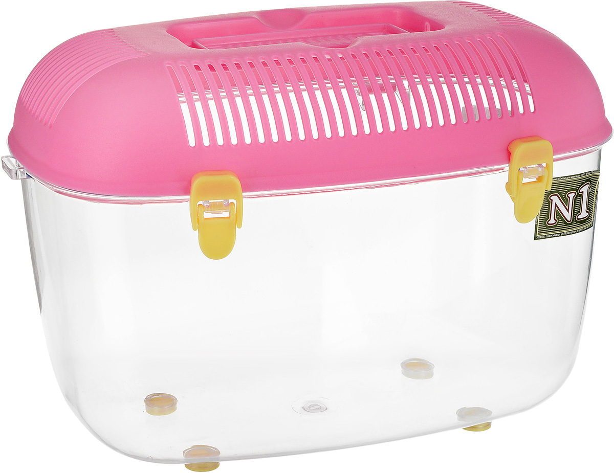 "Переноска для грызунов ""№1"", цвет: прозрачный, розовый, 35 х 22 х 24 см"