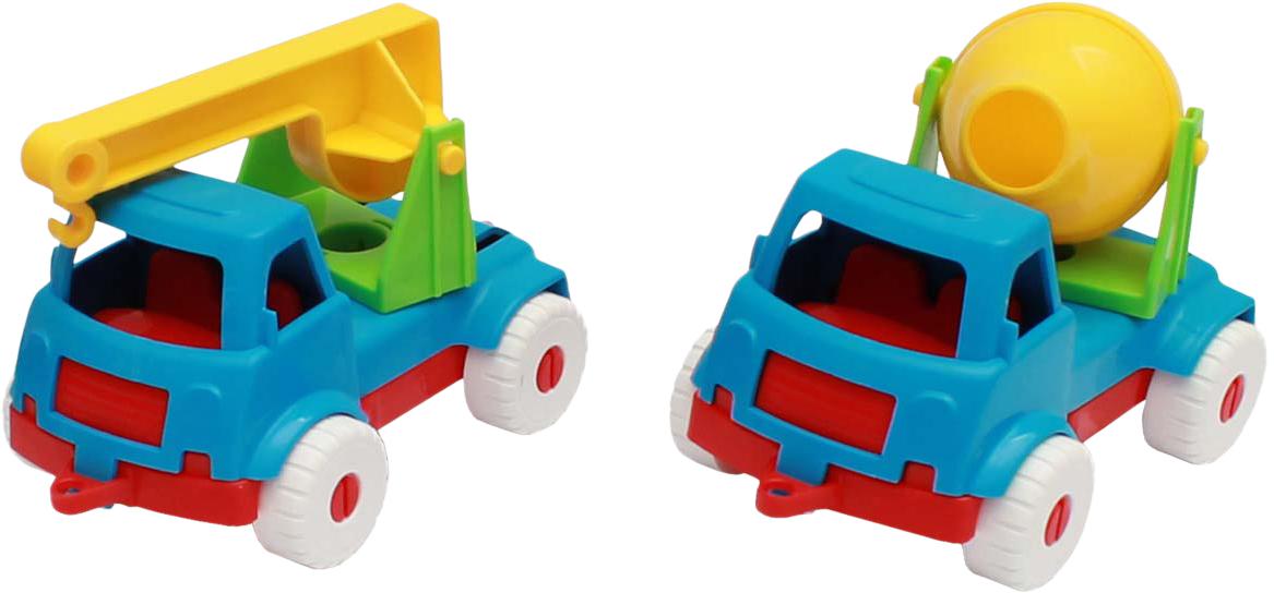 Рыжий Кот Набор машинок № 2 2 в 1 Бетономешалка и кран деревянные игрушки letoyvan набор машинок маленький лондон