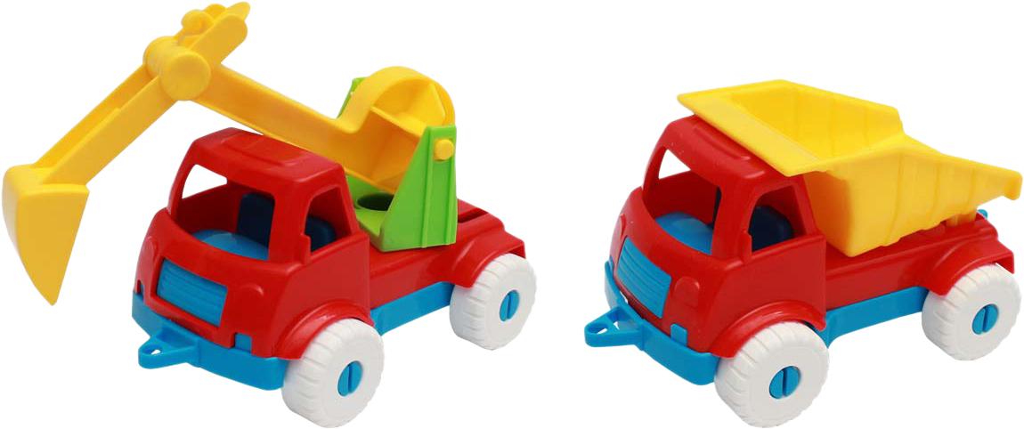 Рыжий Кот Набор машинок № 3 2 в 1 Экскаватор и самосвал игрушки для детей