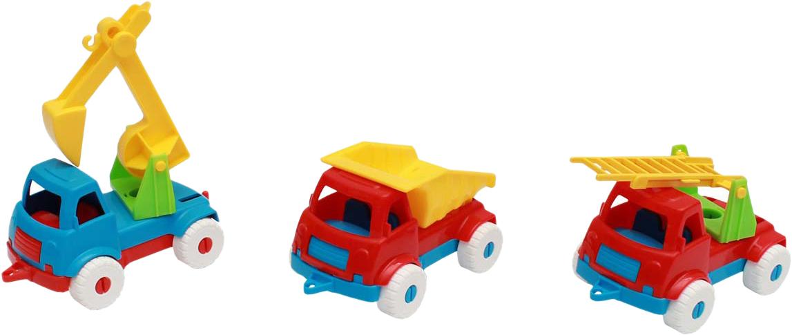 Рыжий Кот Набор машинок № 5 3 в 1 Самосвал + пожарная + экскаватор игрушки для детей