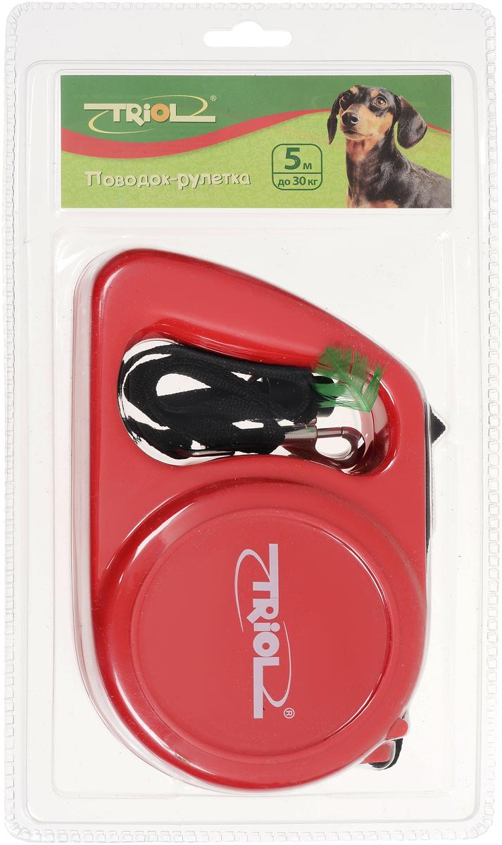 Поводок-рулетка Triol, для собак до 30 кг 5 м, цвет: красный поводок рулетка triol colour цвет голубой черный длина 5 м размер s
