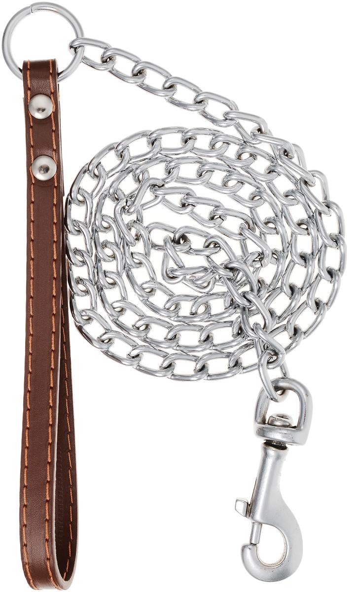 Поводок-цепь для собак Dezzie, цвет: коричневый, серебристый, толщина 3 мм, длина 120 см ошейник для собак dezzie сальвадор