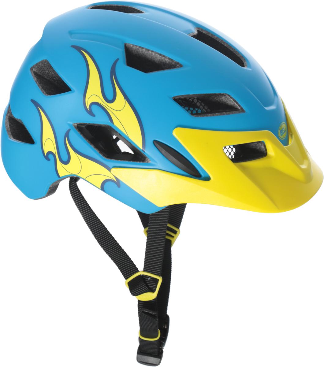 Шлем защитный детский Bell 17 Sidetrack, цвет: голубой, желтый. Размер CH