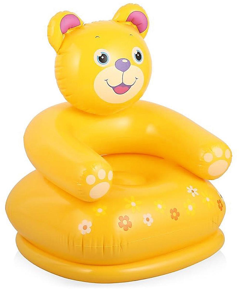 Кресло надувное Intex. Мишка, цвет: желтый, 65 х 64 х 74 см intex динозавр 58472 т 244см х 46см