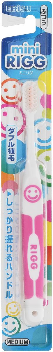 Ebisu Щетка зубная Rigg Hard Mini, цвет: розовый щетка зубная ebisu rigg medium в форме зубцов цвет мятный