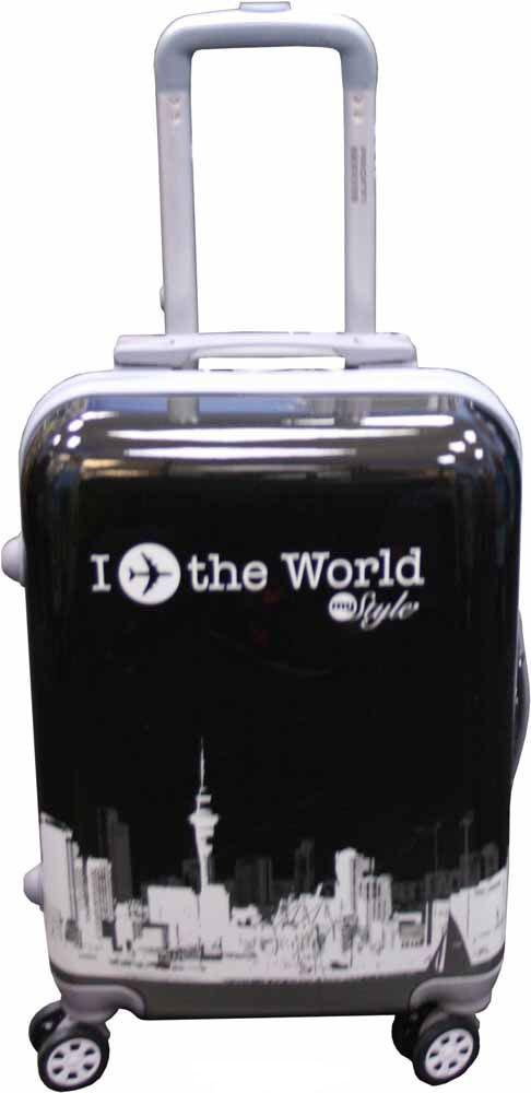 Чемодан Proffi Вояж, цвет: черный, серый, желтый, 36 х 26 х 56 см, 50 л чемодан proffi ретро цвет серый 45 л