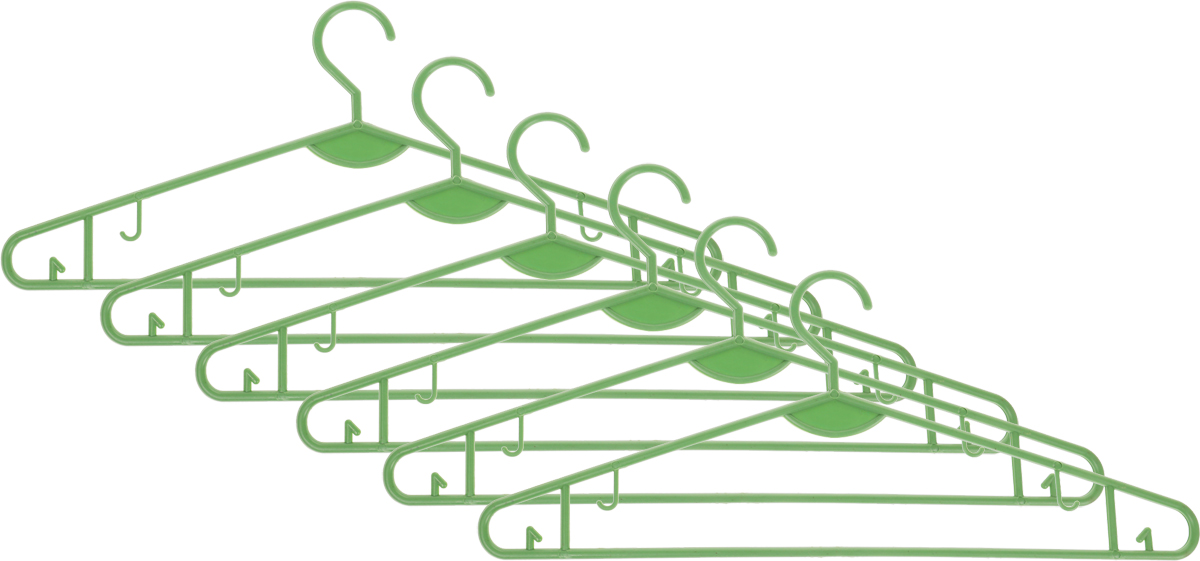 """Набор вешалок для одежды """"Miolla"""", цвет: зеленый, 6 шт"""