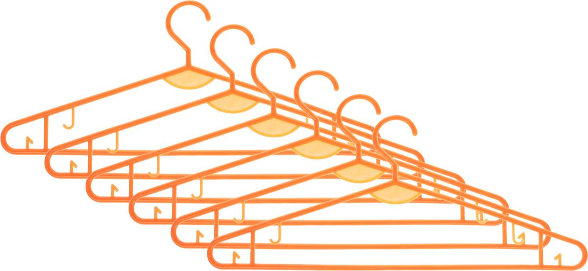 """Набор вешалок для одежды """"Miolla"""", цвет: оранжевый, 6 шт"""
