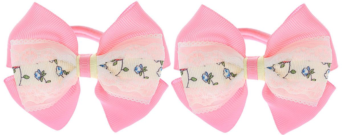 Бант для волос Baby's Joy, цвет: розовый, желтый, 2 шт. MN 208/2 baby s joy резинка для волос цвет белый с белым бантиком mn 202 2