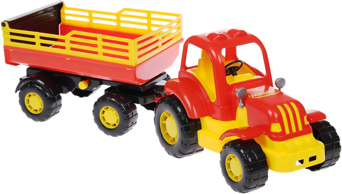 Полесье Трактор Силач с прицепом №2 цвет красный желтый