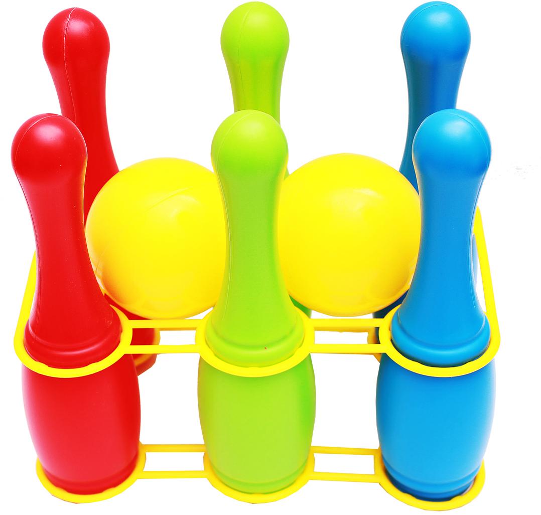 Рыжий Кот Игровой набор 6 кеглей на держателе и 2 маленьких мяча Рыжий Кот