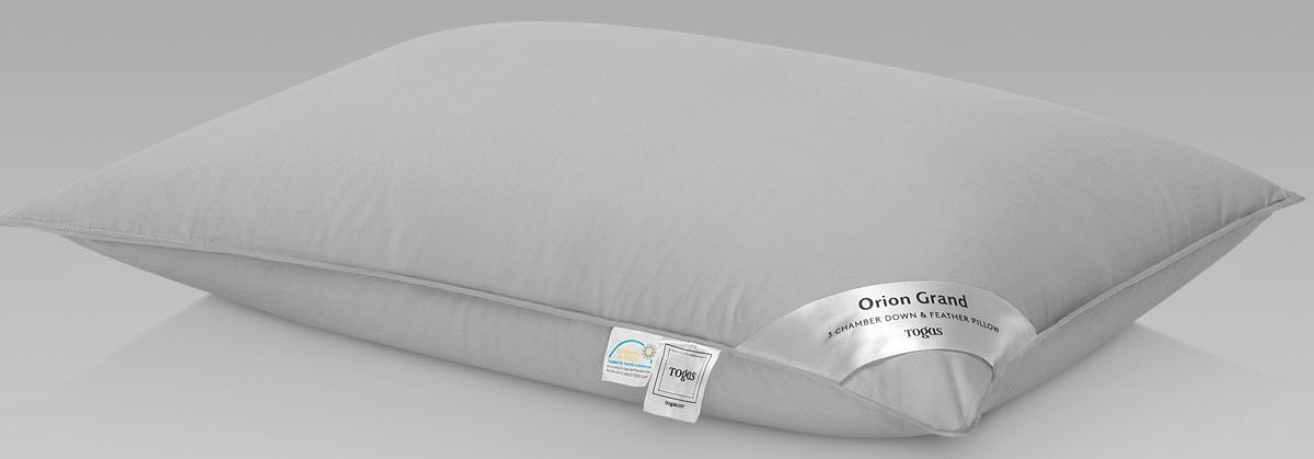 Подушка Togas Орион Гранд, наполнитель: гусиный пух, цвет: белый, 50 x 70 см подушки 1st home подушка 50 70 лён