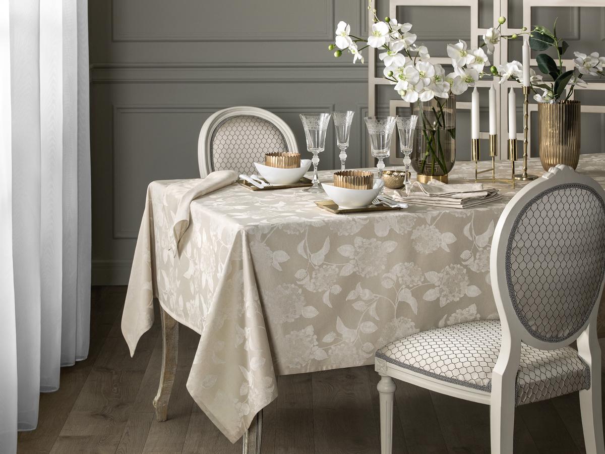 Комплект столового белья Togas Гортензия, цвет: бежевый, 7 предметов скатерти t