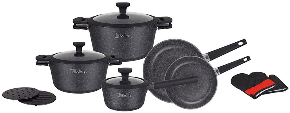 """Набор посуды Bollire """"Milano"""" включает в себя 2 кастрюли, ковш, 2 сковороды, 2 подставки и 2 перчатки. Посуда выполнена из литого алюминия.  Внутреннее покрытие: PFLUON Marble - трехслойное, износостойкое антипригарное покрытие. Внешнее покрытие: PFLUON Marble - двухслойное, износостойкое антипригарное покрытие. Технология дна: FULL INDUCTION BOTTOM - специальное дно для индукционных плит. Материал крышек: термостойкое стекло с силиконовым ободом (силиконовый обод позволяет крышке  закрываться бесшумно, предотвращает сколы при падении). Ручка: бакелит, с покрытием SOFT TOUCH и силиконовой вставкой.  Размеры ковша (1,4 л): 16 x 8,5 см. Размеры кастрюли (2,65 л): 20 x 10 см. Размеры кастрюли (4,65 л): 24 x 12 см. Размеры сковороды: 20 x 5 см. Размеры сковороды: 28 x 6 см.  Подходит для всех видов плит, включая индукционные. Не подходит для духовки."""