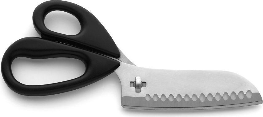 Кухонные ножницы из нержавеющей стали, пригодны для разделки птицы, рыбы, обработки овощей, резки бумаги, текстиля. Возможно использование в разобранном виде в качестве ножа. Ножницы кухонные упакованы в блистер.