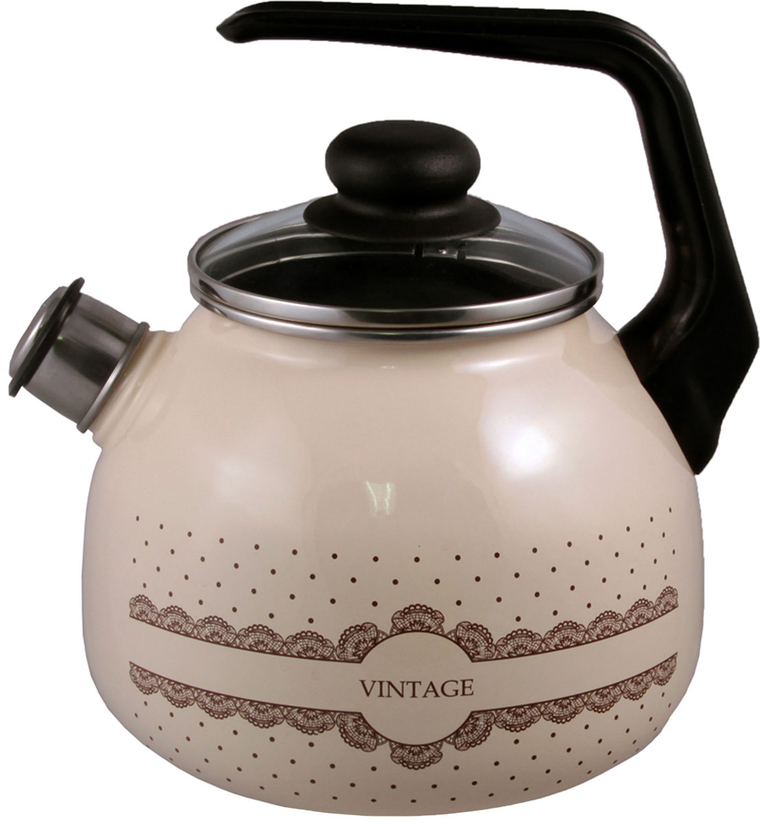 """Чайник эмалированный Appetite """"Vintage"""" - гигиеничен и устойчив к износу при длительном использовании. Гладкая и ровная поверхность существенно облегчает уход за посудой."""
