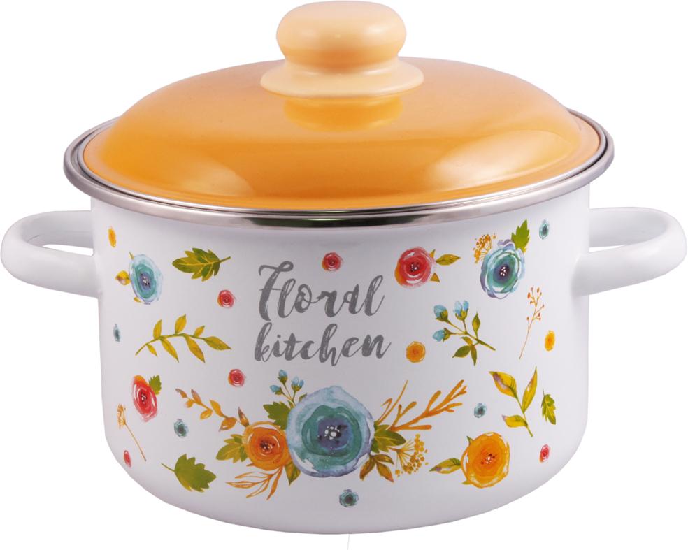 Кастрюля Appetite Floral Kitchen, с крышкой, 4 л кастрюля эмалированная esprado amarilla с крышкой 2 4 л