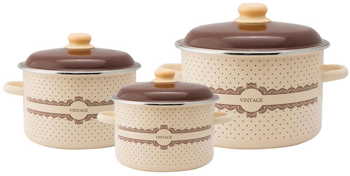 """Набор эмалированной посуды Appetite """"Vintage"""" станет украшением вашей кухни и поможет вам готовить вкусные блюда."""