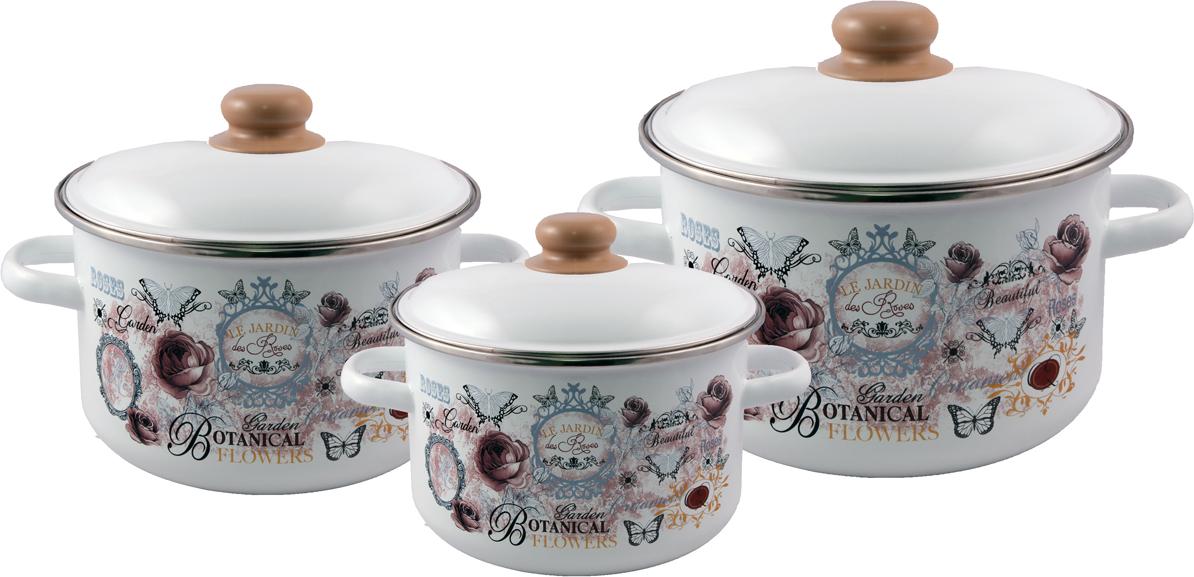 """Набор эмалированной посуды Appetite """"Roses"""" станет украшением вашей кухни и поможет вам готовить вкусные блюда."""