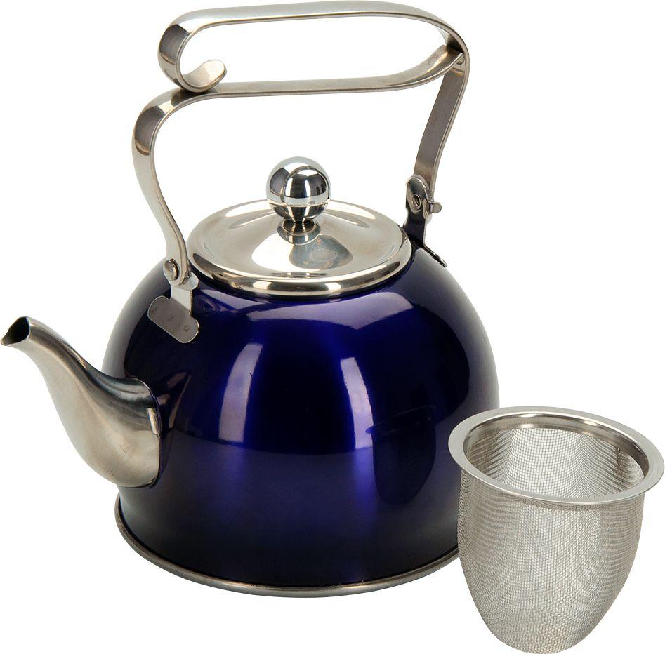 """Чайник заварочный Regent Inox """"Promo"""", с ситечком, 800 мл, цвет: синий"""