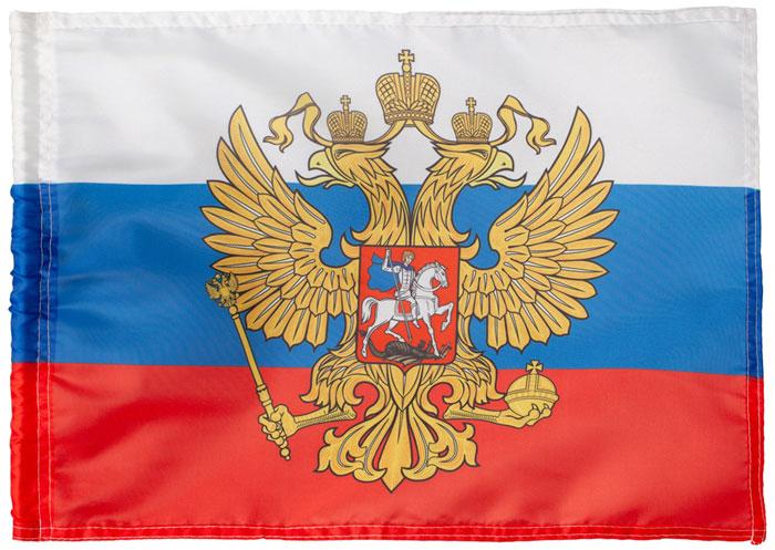 "Флаг РусФлаг ""Триколор. Герб"", 12 х 18 см"