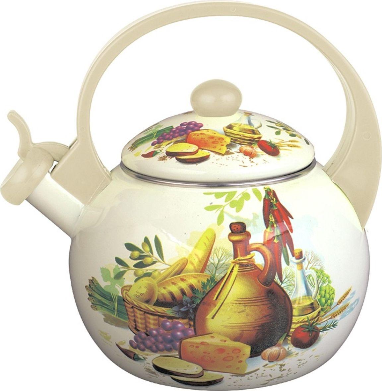 Чайник со свистком Росинка Завтрак в деревне, 2,5 л чайник riess pastell со свистком цвет розовый 2 л