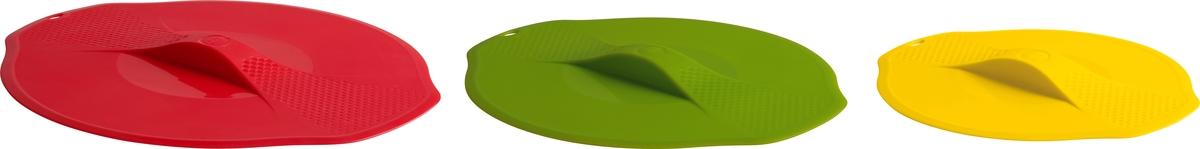 Крышки из высококачественного силикона не содержат ядовитый бисфенол (BPA free!).  Служат для герметичного закрытия кастрюль, салатниц и других емкостей. Вы больше не  нуждаетесь в фольге, пищевой пленке и других материалах, которые используют при хранении.  При этом силиконовые крышки значительно функциональнее: с ними можно готовить даже в  микроволновой печи и в духовке, хранить продукты дольше за счет удаления лишнего воздуха.  Три разных размера: красная - для посуды диаметром до 27 см; зеленая - для посуды диаметром  до 23 см; желтая - для посуды диаметром до 19 см.