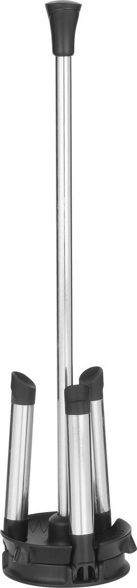 Подставка для сушки винных декантеров имеет складывающиеся упоры для компактного хранения. Основание подставки оснащено каплеуловителем. Верхняя часть основного стержня имеет прорезиненную насадку, предотвращающую царапание декантера. Упоры подставки также имеют прорезиненные насадки, придающие дополнительную устойчивасть и предотвращающие скольжение по влажной поверхности.