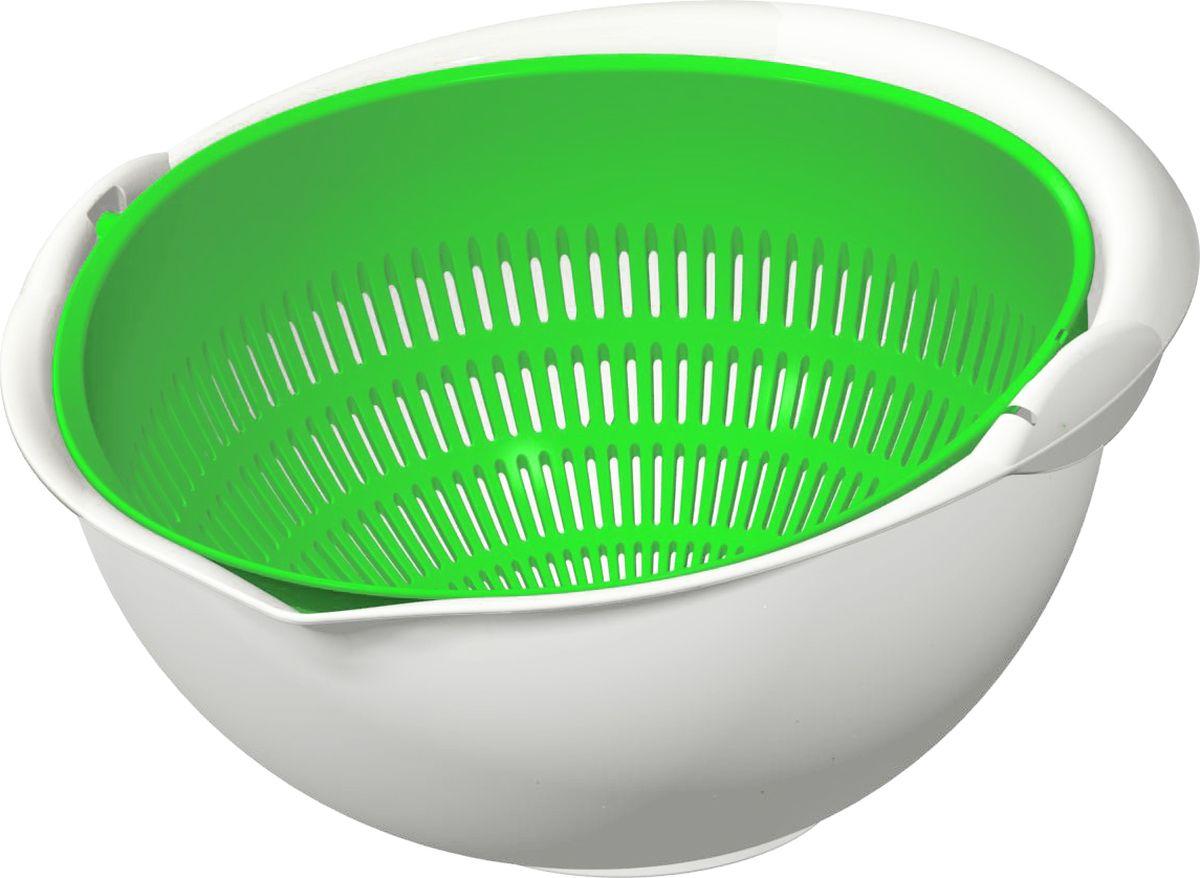 Дуршлаг для промывания любых круп, макарон, овощей, фруктов, ягод, зелени.   Состоит из двух емкостей: чаши и дуршлага, которые легко разобрать для мытья. Оснащен носиком для слива, удобными ручками.  Положите в дуршлаг крупу, залейте водой, затем переверните дуршлаг (это делается легко, одной рукой), вся вода через носик стечет в раковину. Затем дуршлаг можно поставить на стол, накрыв его сверху миской, как крышкой.   Через мелкие отверстия стекает только вода, вся крупа остается в дуршлаге.