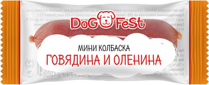 """Лакомство для собак Dog Fest """"Мини-колбаска говядина и оленина"""", 20 шт, 120 г"""