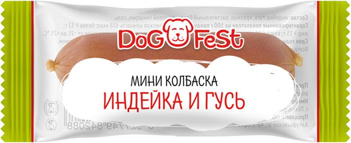 """Лакомство для собак Dog Fest """"Мини-колбаска индейка и гусь"""", 20 шт по 6 г"""