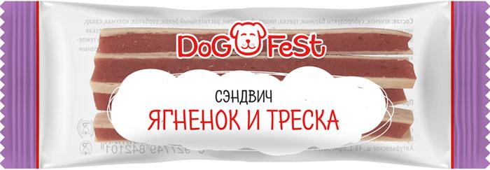 Лакомство для собак Dog Fest Сэндвич ягненок и треска, 20 шт, 120 г лакомство для собак dog fest легкое говяжье 70 г