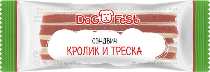 Лакомство для собак Dog Fest Сэндвич кролик и треска, 20 шт, 120 г лакомство для собак dog fest легкое говяжье 70 г