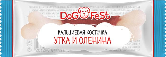 """Лакомство для собак Dog Fest """"Кальциевая косточка утка и оленина"""", 152 г, 20 шт"""