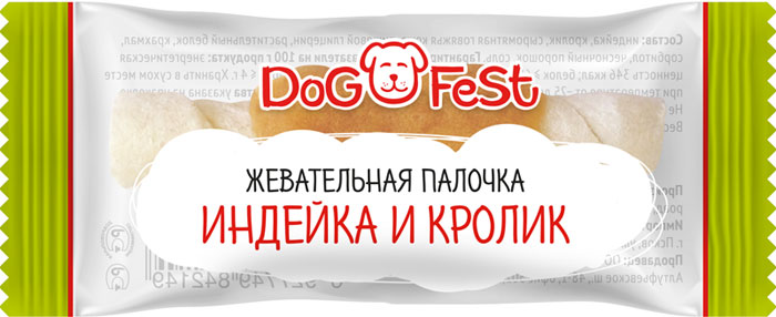 Лакомство для собак Dog Fest Жевательная палочка индейка и кролик, 92 г, 20 шт каталог fest