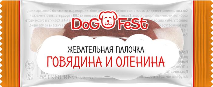 Лакомство для собак Dog Fest Жевательная палочка говядина и оленина, 92 г, 20 шт лакомство для собак dog fest легкое говяжье 70 г