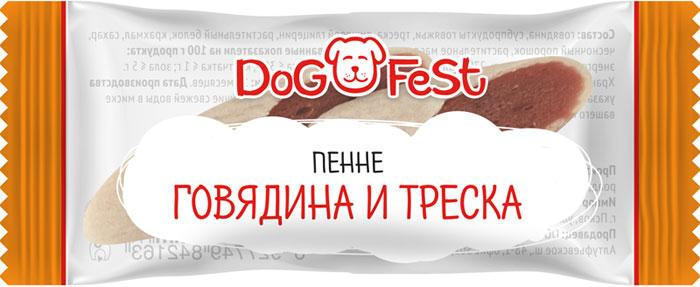 Лакомство для собак Dog Fest Пенне говядина и треска, 120 г, 20 шт лакомство для собак dog fest легкое говяжье 70 г