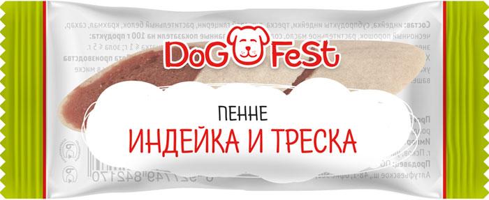 Лакомство для собак Dog Fest Пенне индейка и треска, 120 г, 20 шт лакомство для собак dog fest легкое говяжье 70 г