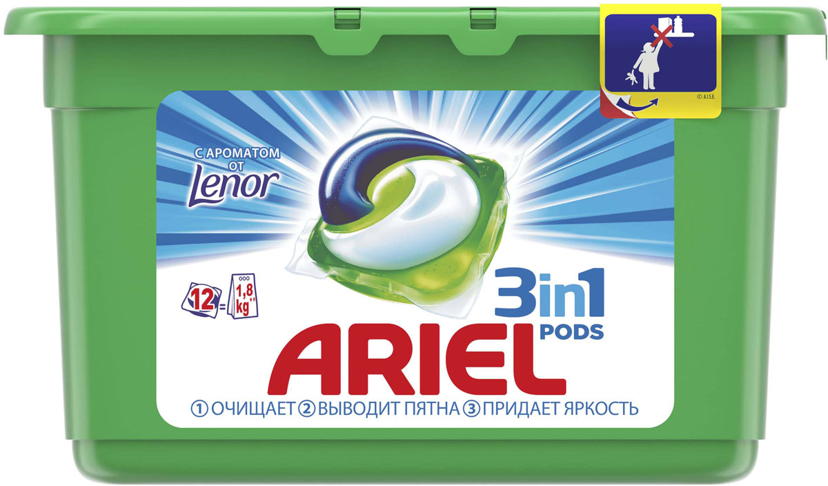 Капсулы для стирки Ariel Liquid Capsules. Touch of Lenor Fresh, 12 шт капсулы д стирки ariel liquid capsules горный родник 15х28 8г