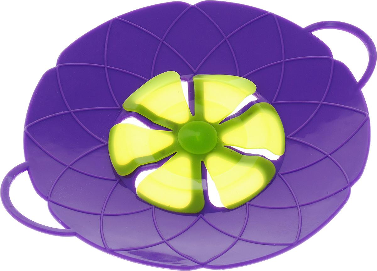 Крышка-невыкипайка Mayer & Boch, цвет: фиолетовый, зеленый, диаметр 25 см фен mayer